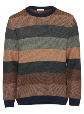 Knowledge Cotton Apparel - Multi colored Striped o-neck knit